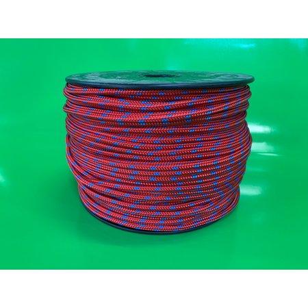 Polyester Touw dubbel gevlochten (double braid) 6 mm Rood Multicolor. Prijs per meter.
