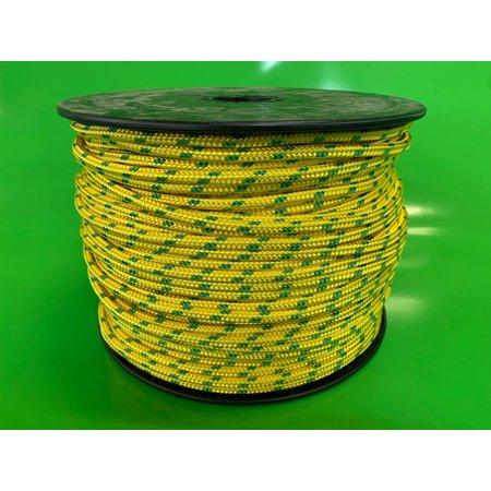Polyester Touw dubbel gevlochten (double braid) 6 mm Geel Multicolor. Prijs per meter.