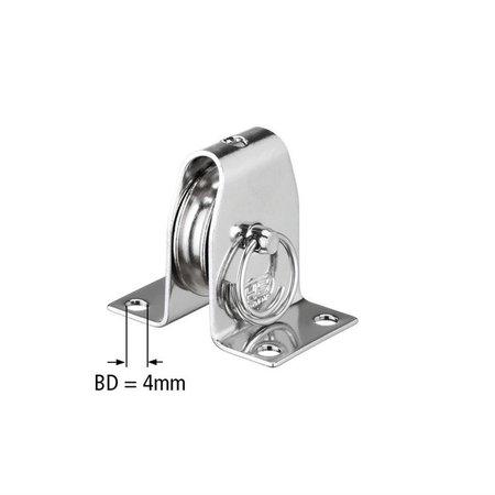 Sprenger Sprenger Katrol RVS met 30 mm rol in beugel + borgpen . Breekkracht 1.000 kg. Voor 6 mm kabel.