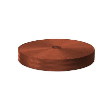 Veiligheidsgordelband / autogordelband Koperbruin 48 mm  rol 100 meter. Verwachte leverdatum: 3e week mei.