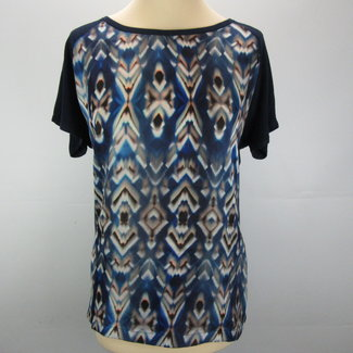 Esqualo Donkerblauwe blouse met print (40)
