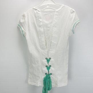 T-shirt in wit met groen (146/152)