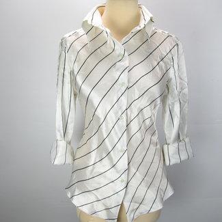 Pieno Dames blouse crème met zwarte strepen (44)