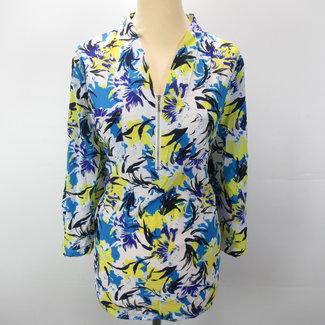 Vintage Vintage blouse met rits multikleur (L)
