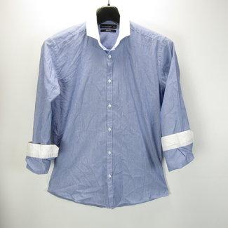 Briljant-blauwe heren overhemd (M)