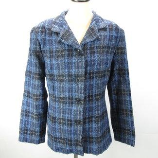 DF fashion Donkerblauwe blazer met ruitjes (48)