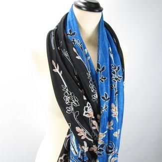2 Sjaals met bloemen print Zwart/Blauw