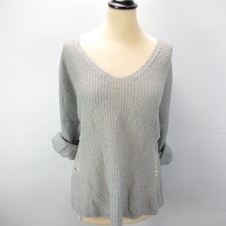 Atmosphere Grijze trui met scheuren (XL)