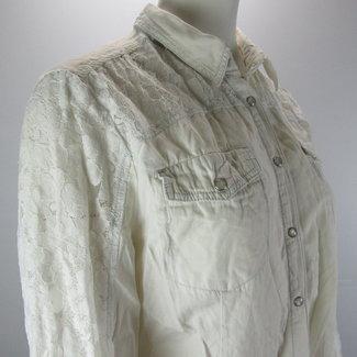 Denim Co Crème blouse met kant (40/42)