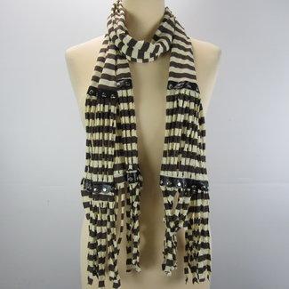 Crème sjaal met bruine strepen (onesize)