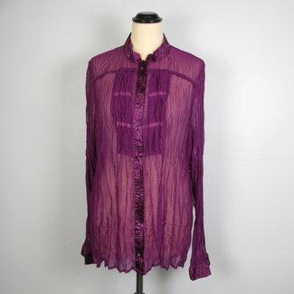 M&S Doorzichtige Paarse Plissé Shirt (L)