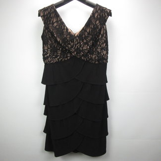 Patra Zwart+champagne chiffon jurk met glitters (44)