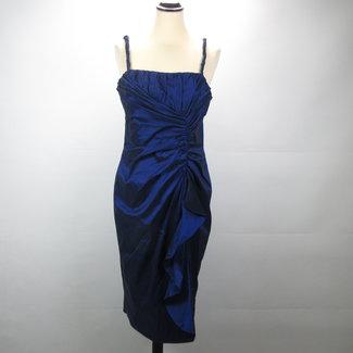 Adrianna Papell Blauwe cocktail jurk met bolero (XL)