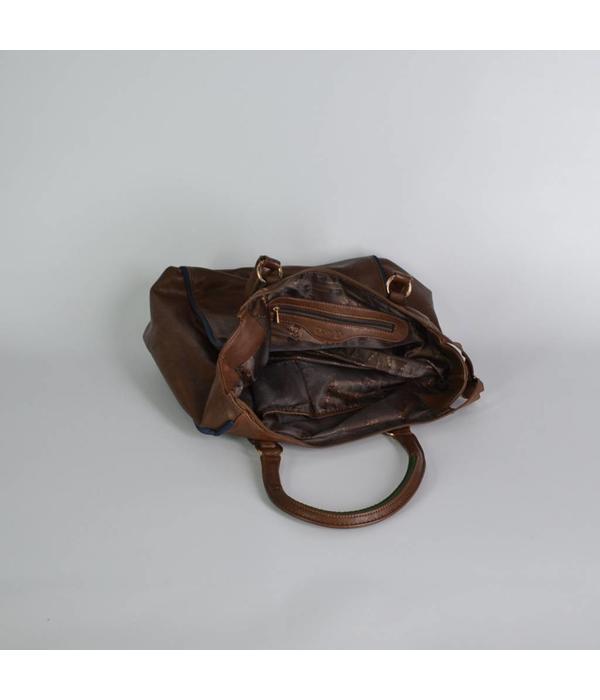 Tientje of minder Grote leren tas, bruin