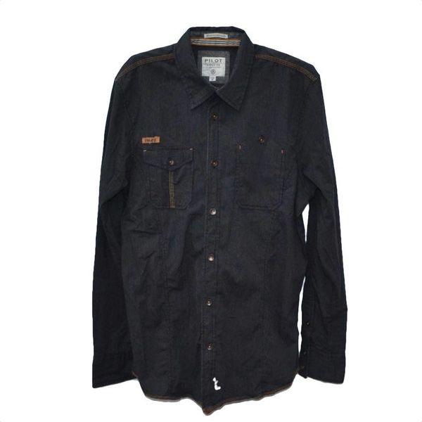 Donker gestreept overhemd (M)