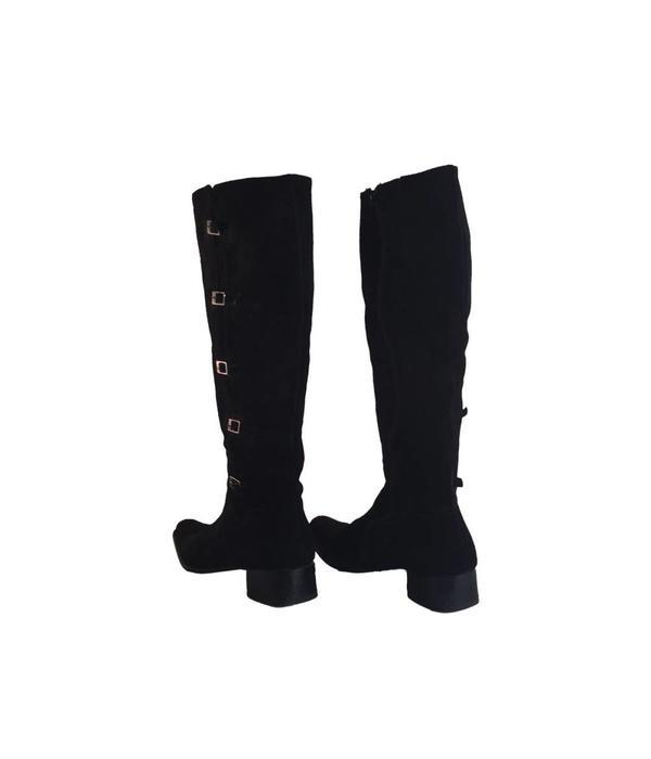 Tientje of minder Zwart suede laarzen (41)