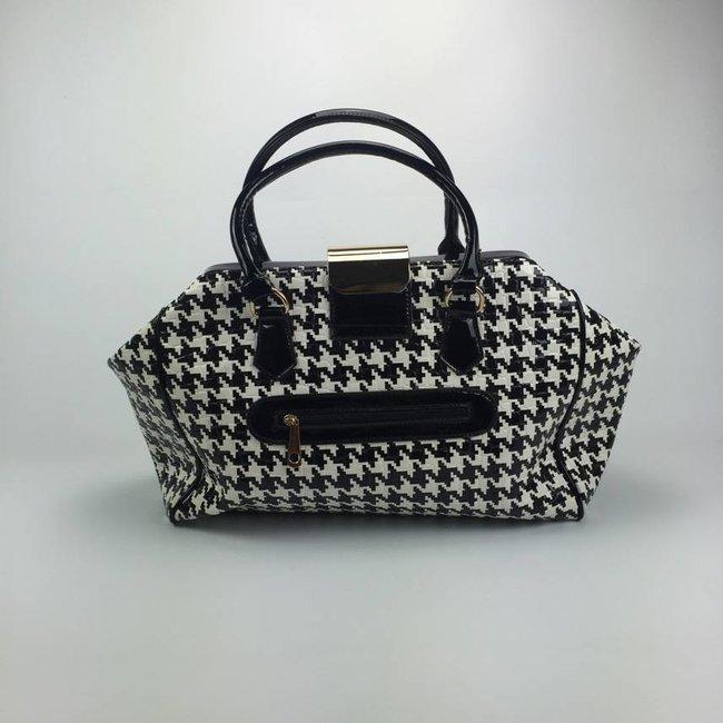 Tientjes Exclusieve zwart/witte handtas