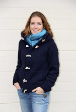Portugesewol  Barrosa wool cardigan with hood, zip and button closure in blue.