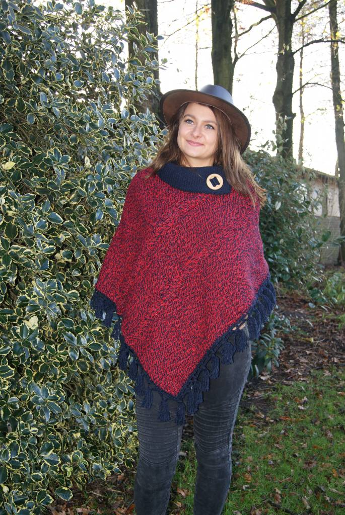 """Portugesewol  Red poncho"""" Minde """"with knitted cables"""