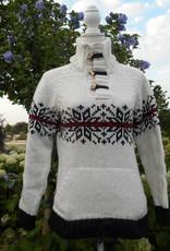 Portugesewol Weißer Pullover mit doppeltem Strickkragen und gestricktem Norwegermuster