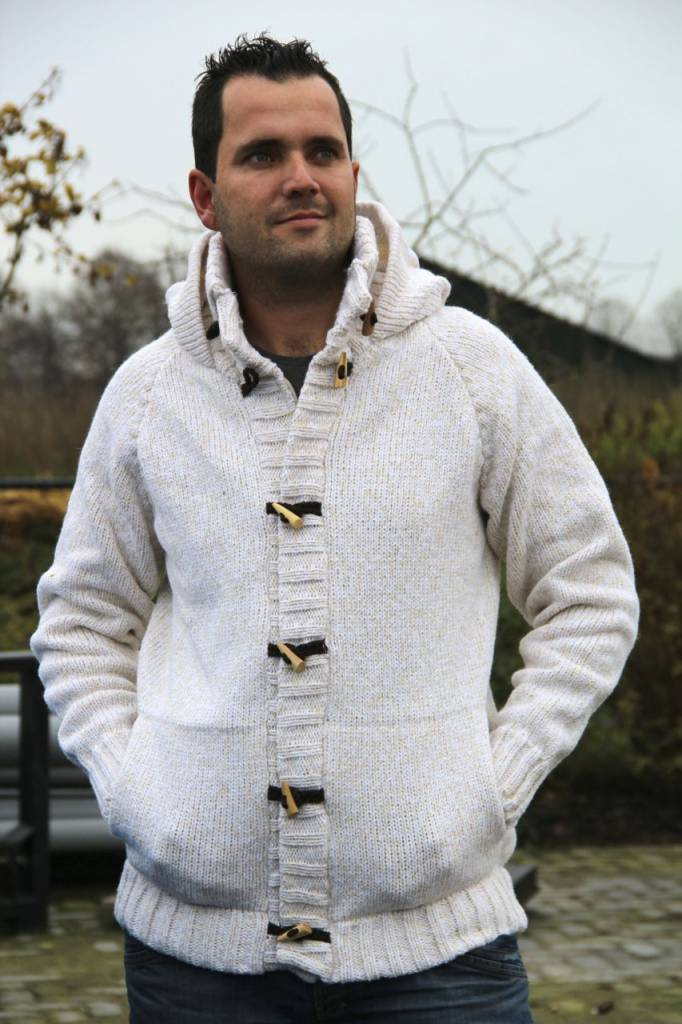 Portugesewol  Cardigan with hood white