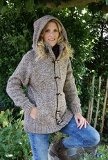 "Portugesewol Knitted woolen cardigan ""Mora"" with double closure and hat"