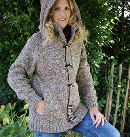 "Portugesewol Wool cardigan ""Mora"" with zip and buttons in brown"