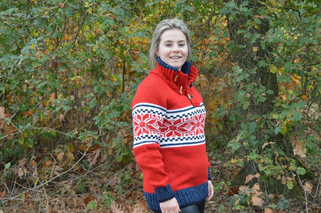 Portugesewol Norweger Pullover 'Cerva' Rot
