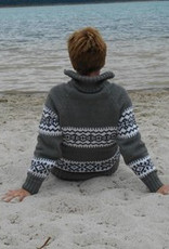 """Portugesewol  Norwegian knit pullover with zipper and double knit collar """"Penacova"""""""