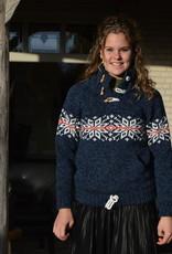 Portugesewol Gestrickter norwegischer Pullover in Blue Jeans