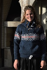 Portugesewol  Knitted Norwegian pullover in blue jeans