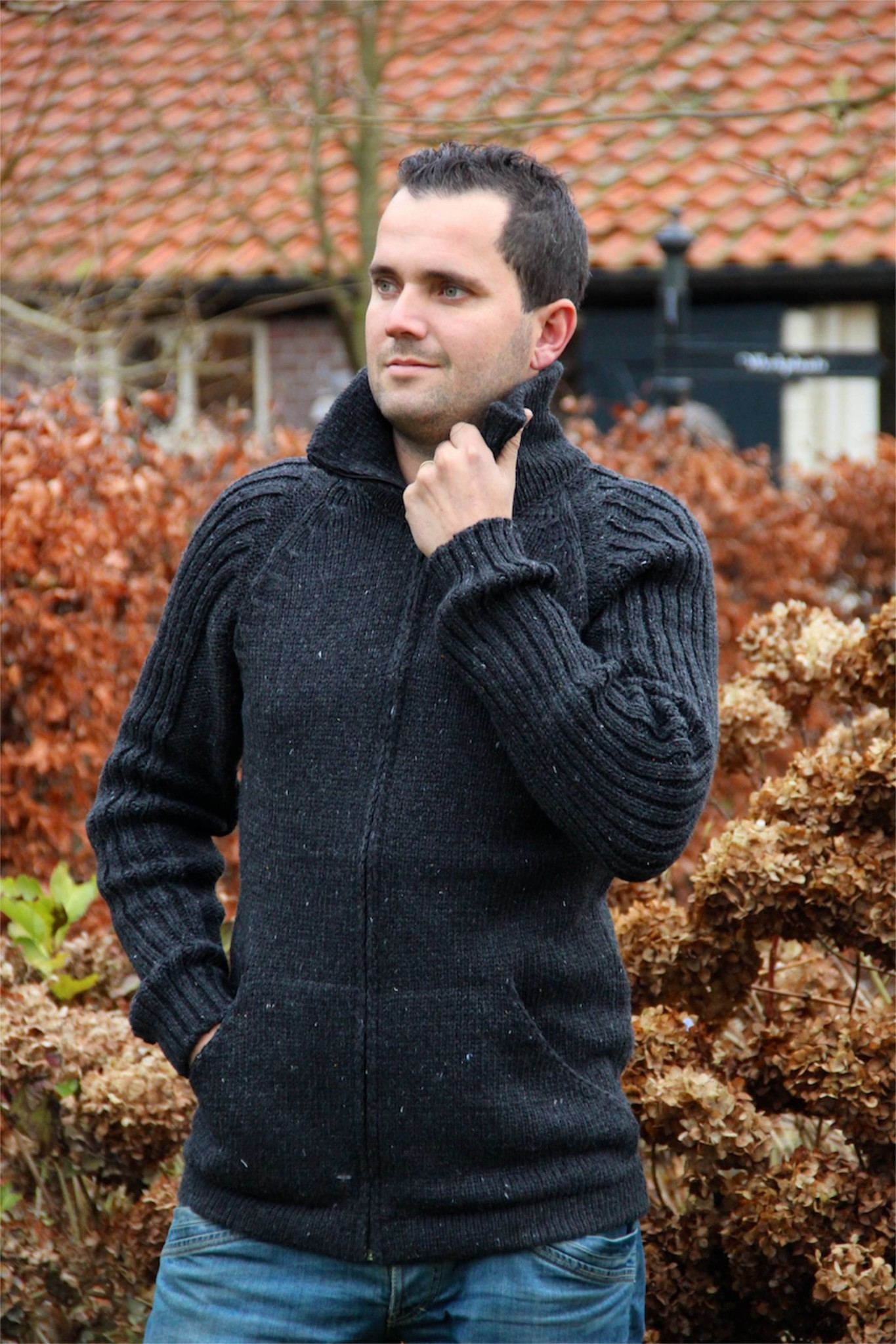 "Portugesewol Knitted cardigan ""Porto"" in anthracite gray"