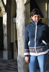 """Portugesewol """"Torres"""" jeans blue cardigan with Norwegian pattern"""