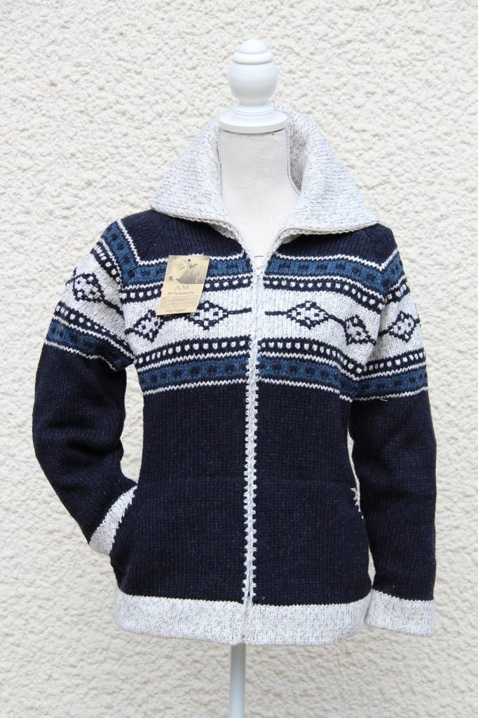 "Portugesewol woolen cardigan with zipper ""Coimbra"""