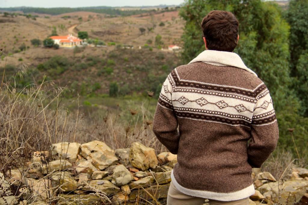 "Portugesewol brown cardigan with zipper ""Lisboa"""