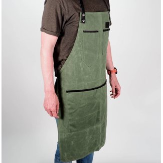 The Bastard BBQ Waxed Apron Army Groen
