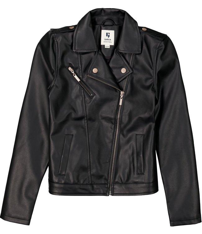 Garcia Meisjes biker jas - Bijna zwart