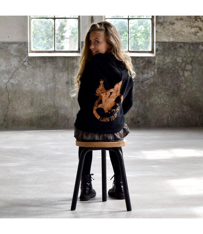 My Own Meisjes hoodie - Rene - Arend zwart