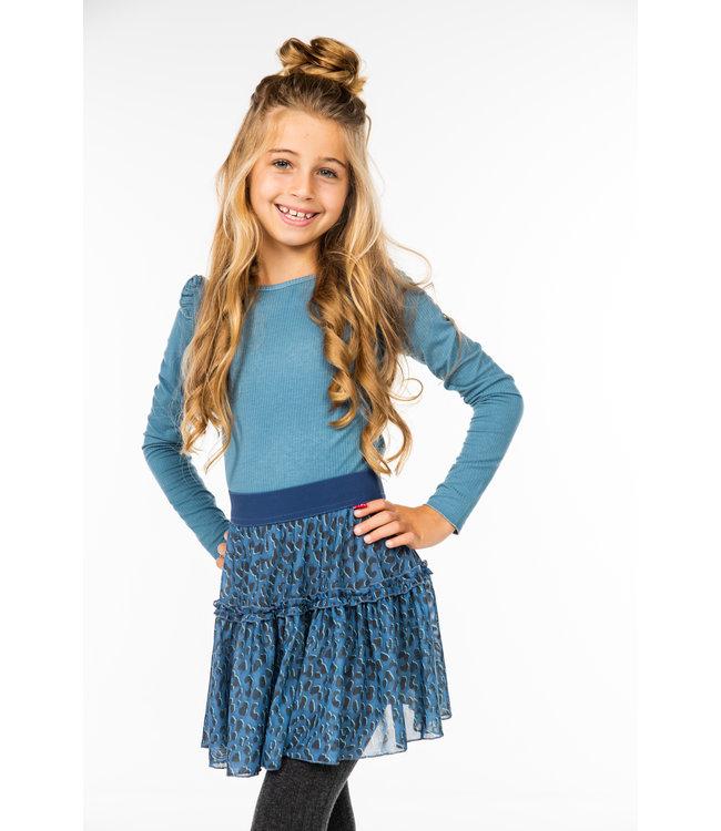 MAYCE Girlslabel Meisjes rok mesh - Animal blauw