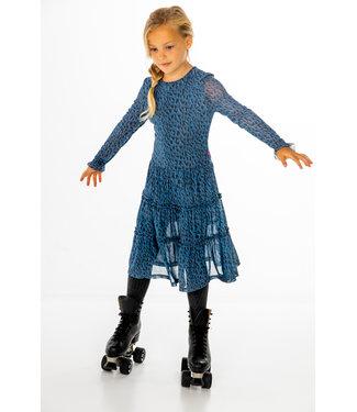 Meisjes jurk lang - Animal blauw