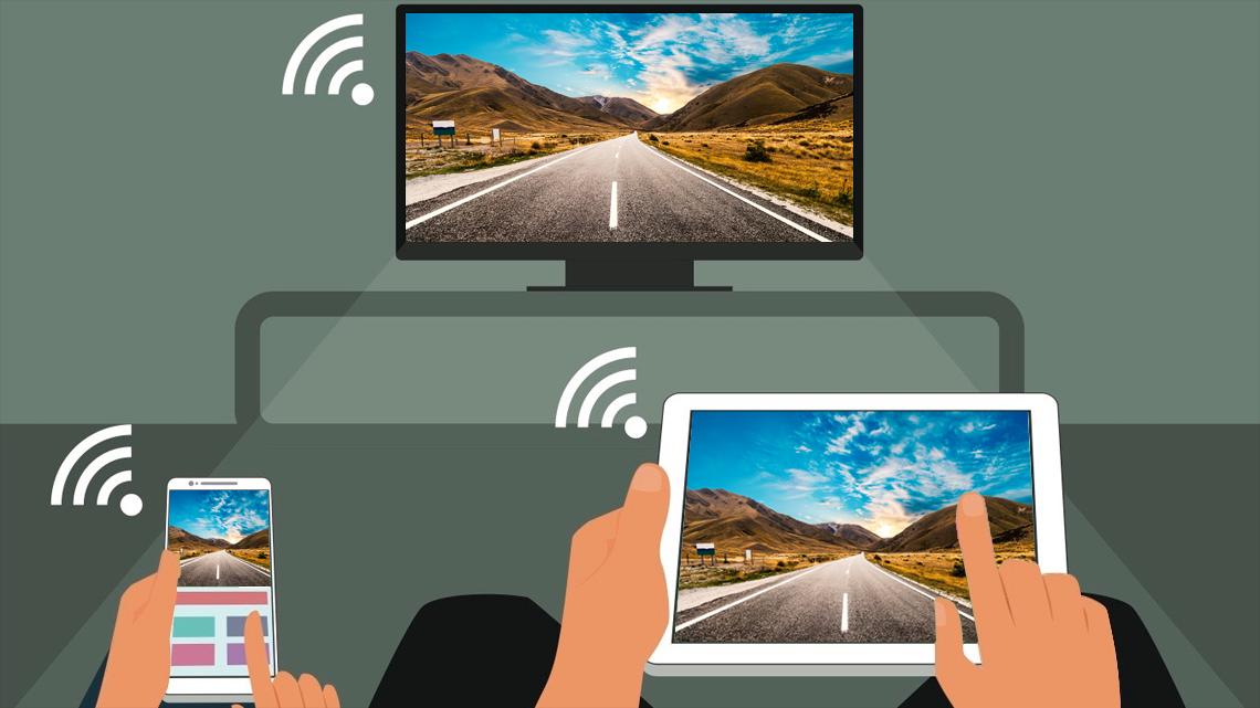 Draadloos presenteren met laptop, telefoon of tablet.