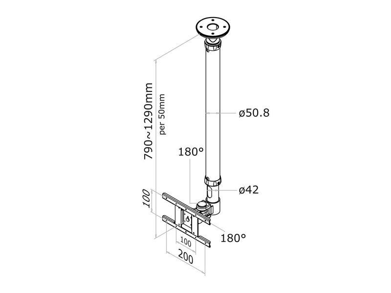 Newstar Newstar FPMA-C100SILVER flat panel plafond steun