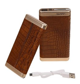 Power Bank D810 met ingebouwd iPhone kabel 10000mAh Bruin