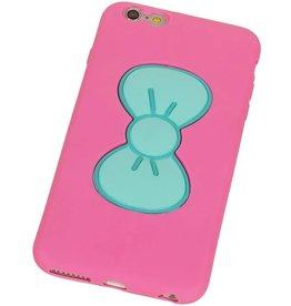 Vlinder Standing TPU Case voor iPhone 6 Roze
