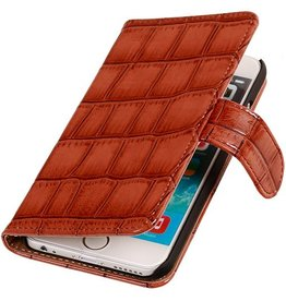 Glans Krokodil Bookstyle Hoes voor iPhone 6 Bruin