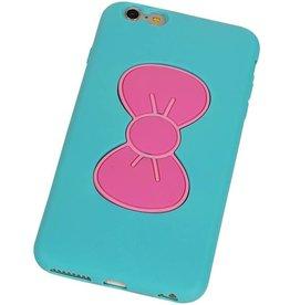 Vlinder Standing TPU Case voor iPhone 6 Plus Turquoise
