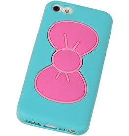 Vlinder Standing TPU Case voor iPhone 5 Turquoise