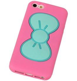 Vlinder Standing TPU Case voor iPhone 5 Roze