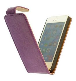 Washed Leer Classic Flip Hoes voor iPhone 5C Paars