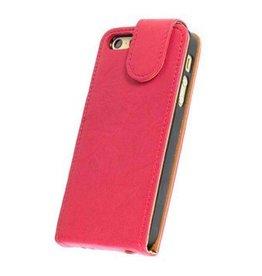 Washed Leer Classic Flip Hoes voor iPhone 4 Roze